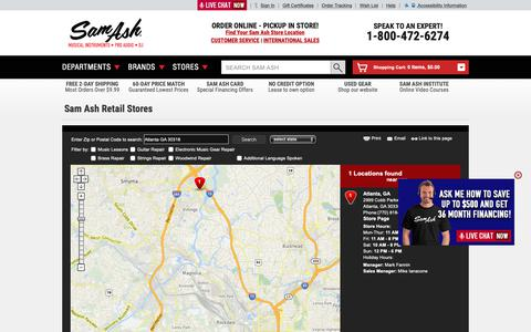 Screenshot of Locations Page samash.com - Order Online - Pickup In Store | Sam Ash Direct - captured March 24, 2019