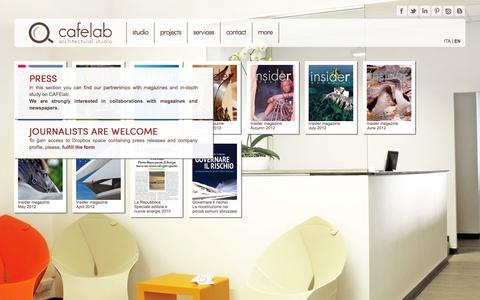 Screenshot of Press Page cafelab.eu - cafelab   architectural studio   press page - captured Oct. 1, 2014
