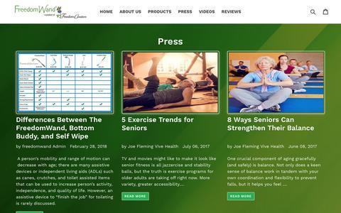 Screenshot of Press Page freedomwand.com - Press                      – FreedomWand® Toilet Aid - captured Aug. 29, 2018
