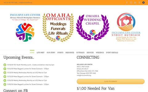 Screenshot of Home Page inclusivelife.org - Inclusive Life Center Omaha Serving All Without Exception - captured Sept. 13, 2018