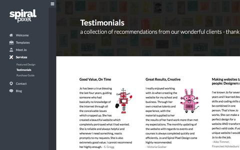 Screenshot of Testimonials Page spiralpixel.com - Testimonials - Spiral Pixel Design - captured Sept. 19, 2014