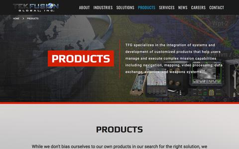 Screenshot of Products Page tekfusioninc.com - Products :: TEK Fusion - captured Oct. 27, 2017
