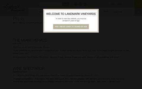 Screenshot of Press Page landmarkwine.com - Press Archive - Landmark Vineyards - captured July 11, 2017