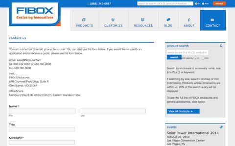 Screenshot of Contact Page fiboxusa.com - customized enclosures   Fibox - captured Oct. 4, 2014