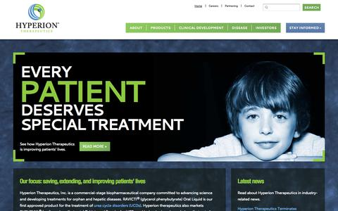 Screenshot of Home Page hyperiontx.com - Hyperion Therapeutics - HPTX - Creating Therapies for Rare Diseases - captured Sept. 16, 2014