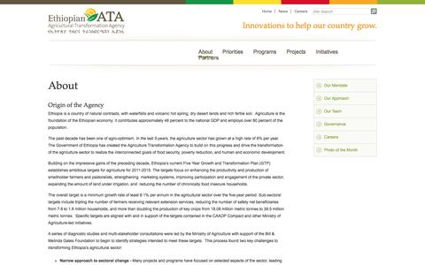 Screenshot of About Page ata.gov.et - About « Ethiopian Agricultural Transformation Agency - captured Oct. 2, 2014