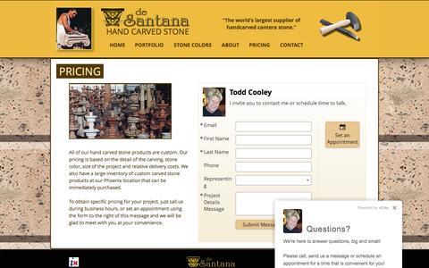 Screenshot of Pricing Page desantana.com - Hand Carved Stone Pricing - captured Nov. 24, 2016