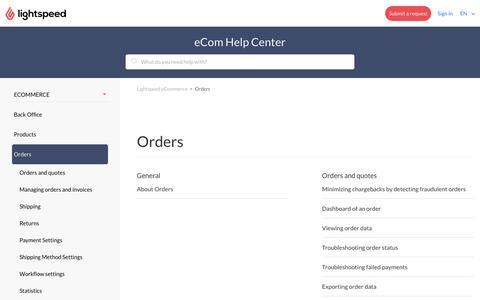 Orders – Lightspeed eCommerce