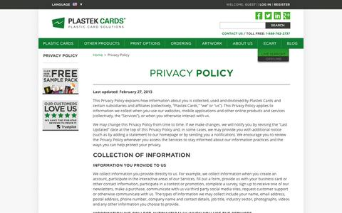 Privacy Policy  |  Plastek Cards | Promotional Plastic Card Printing & Manufacturing