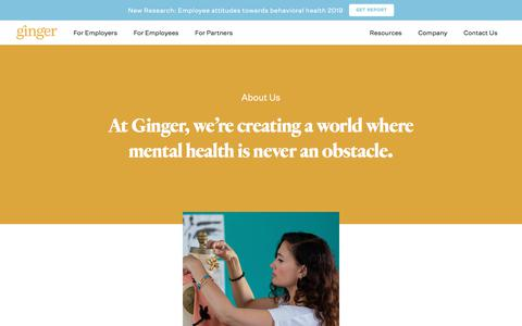 Screenshot of About Page ginger.io - About Us - captured Sept. 5, 2019