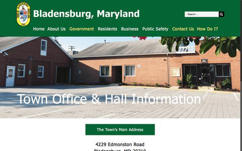 Screenshot of Contact Page Hours Page bladensburgmd.gov - Town Office & Hall Information – Town of Bladensburg - captured July 7, 2018