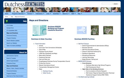 Screenshot of Maps & Directions Page dcboces.org - Maps and Directions | Dutchess BOCES - captured Oct. 5, 2014