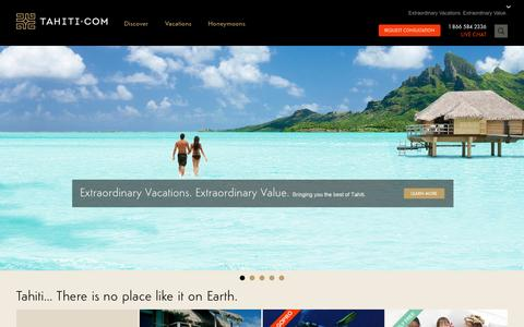 Screenshot of Home Page tahiti.com - TAHITI.COM | Tahiti Travel, Bora Bora Honeymoon Vacation Specialists - captured Sept. 19, 2014