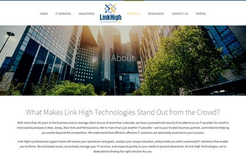 Screenshot of About Page linkhigh.com - About Link High Technologies | Link High Technologies - captured Nov. 19, 2016