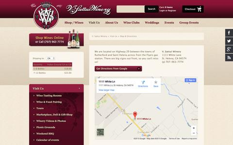 Screenshot of Maps & Directions Page vsattui.com - Directions to Our Napa Tasting Room and Winery - captured Nov. 20, 2015