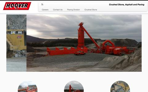 Screenshot of Home Page hoover-inc.com - Hoover Inc | Crushed Stone, Asphalt and Paving - captured Oct. 3, 2014