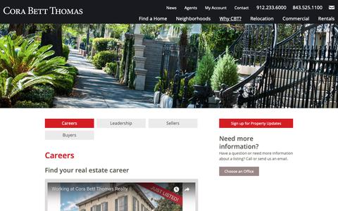 Screenshot of Jobs Page corabettthomas.com - Real Estate Career in Savannah | Cora Bett Thomas Realty - captured Sept. 29, 2018