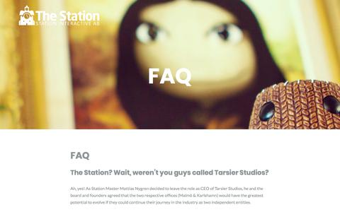 Screenshot of FAQ Page station-interactive.com - FAQ – Station Interactive - captured Sept. 21, 2018
