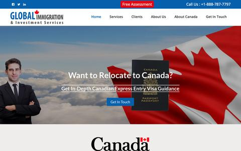 Screenshot of Home Page global-imm.ca - Global Immigration & Investment Services | Immigration Consulting Firm Toronto - captured Sept. 28, 2018