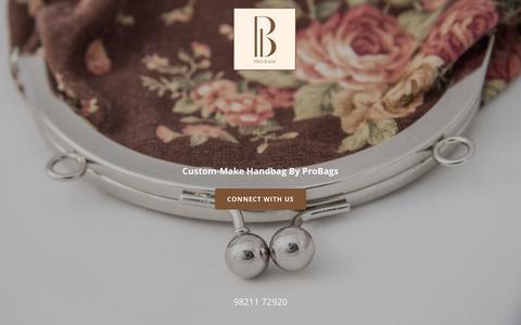 Screenshot of Home Page probags.in - ProBag | Custom Make Handbags | Personalised Bags - captured July 21, 2018