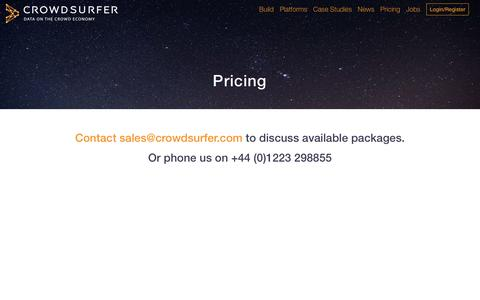 Screenshot of Pricing Page crowdsurfer.com - Crowdsurfer: Pricing - captured May 23, 2017