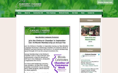 Screenshot of Home Page elmhurstchamber.org - Elmhurst Chamber of Commerce & Industry - Home - captured Oct. 2, 2014