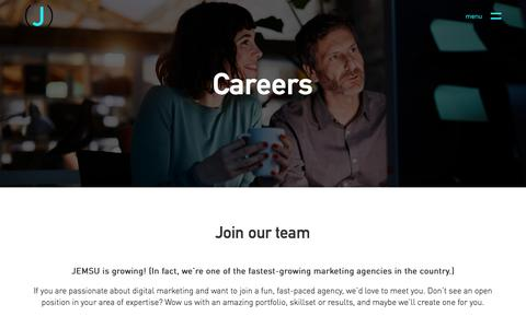 Screenshot of Jobs Page jemsu.com - Careers - JEMSU - captured May 13, 2018
