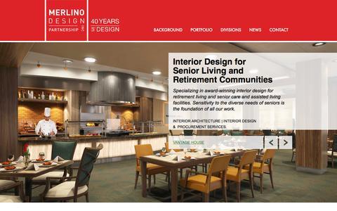 Screenshot of Home Page merlinodesign.com - Interior Design for Senior Living & Retirement Communities - Merlino Design Partnership, Inc - captured Feb. 12, 2016