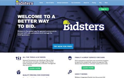 Screenshot of Login Page bidstersusa.com - Bidsters- A Better Way to Bid - captured Oct. 5, 2014