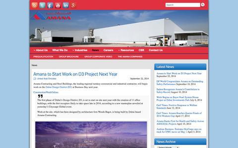 Screenshot of Press Page amanabuildings.com - News - Amana Contracting & Steel Buldings - captured Oct. 4, 2014