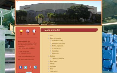 Screenshot of Site Map Page bandcaucho.com - Bandcaucho: caucho, engomado, ebonitado, poliuretao, rodillo, elastómero - captured Oct. 27, 2014