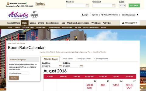 Screenshot of atlantiscasino.com - Room Rate Calendar | Reno Hotel Deals | Atlantis Casino Resort - captured Aug. 24, 2016