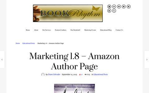 Screenshot of Blog bookrhythm.com - Marketing 1.8 – Amazon Author Page | BookRhythm - captured April 17, 2016