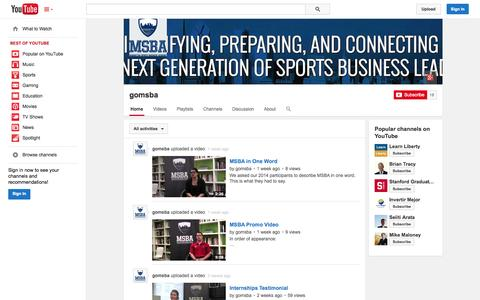 Screenshot of YouTube Page youtube.com - gomsba  - YouTube - captured Oct. 23, 2014