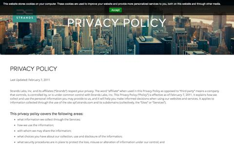 Screenshot of Privacy Page strands.com - Privacy Policy - Strands Finance - captured April 7, 2017