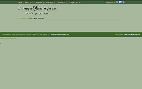 Screenshot of Support Page barringerlandscape.com - Customer Support » Barringer & Barringer Inc. - captured Oct. 5, 2014