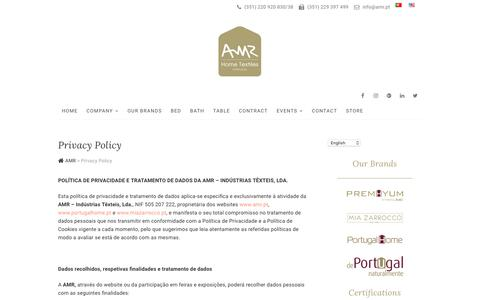 Screenshot of Privacy Page amr.pt - Privacy Policy - AMR - captured Oct. 2, 2018