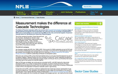 Screenshot of Case Studies Page npl.co.uk - Case Studies : Commercial Services : National Physical Laboratory - captured Sept. 24, 2014