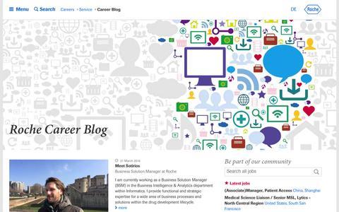 Screenshot of Blog roche.com - Roche - Career Blog - captured March 30, 2016