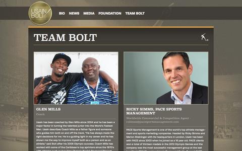 Screenshot of Team Page usainbolt.com - Usain Bolt | Team Bolt - captured Oct. 27, 2014