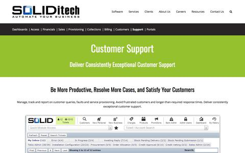 Screenshot of Support Page soliditech.com - Customer Support | Customer support management software - SOLIDitech - captured June 23, 2017