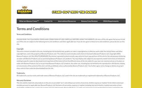 Screenshot of Terms Page bananaproducts.com - Banana Products, LLC - Terms and Conditions - captured Oct. 5, 2014