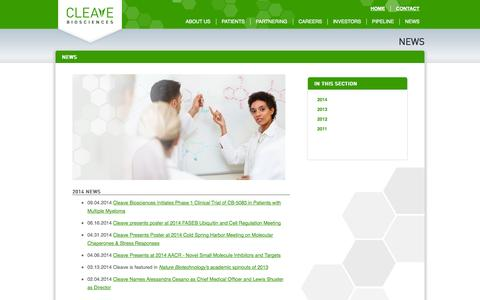 Screenshot of Press Page cleavebio.com - News | Cleave Biosciences - captured Sept. 13, 2014