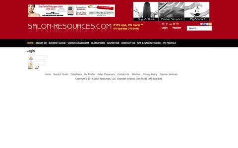 Screenshot of Login Page salon-resources.com - Salon Resources - Salon Resources - captured Oct. 4, 2014