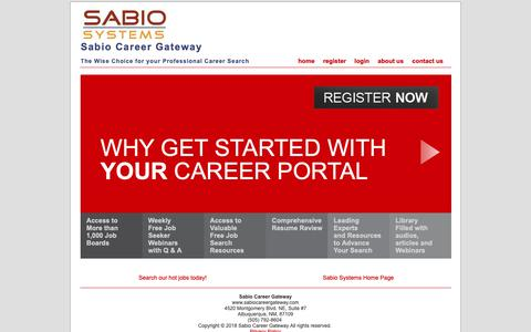 Screenshot of Home Page sabiocareergateway.com - Sabio Career Gateway  - The Wise Choice for your Professional Career Search - captured Oct. 21, 2018