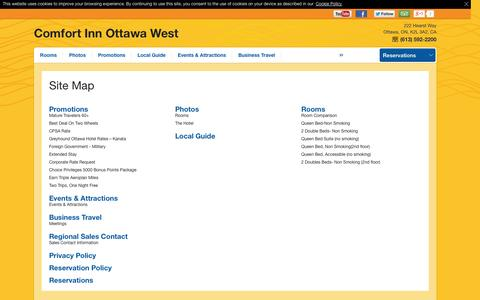 Screenshot of Site Map Page comfortinnkanata.com - Site Map - Comfort Inn Ottawa West - Ottawa - CA - captured Oct. 2, 2014