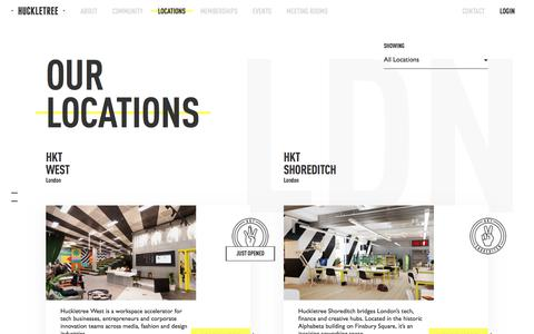 Screenshot of Locations Page huckletree.com - Coworking Locations in London and Dublin | Huckletree - captured July 13, 2018