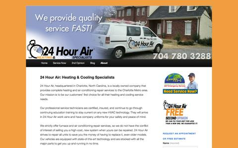 Screenshot of About Page 24hourair.com - 24 Hour Air: Heating & Cooling Specialists | 24hourair - captured Oct. 9, 2014