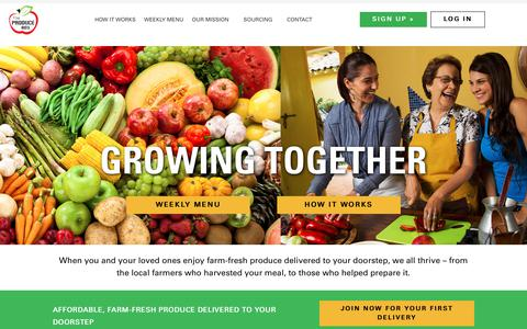 Screenshot of Home Page theproducebox.com - The Produce Box | Fresh Food Delivery Services North Carolina - captured June 15, 2019