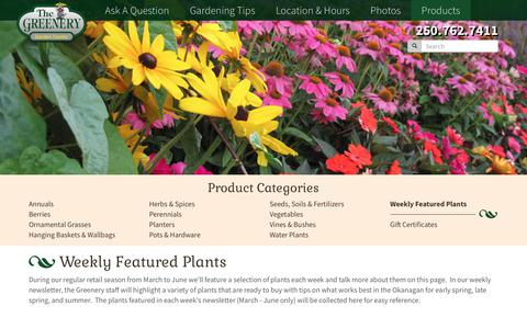 Screenshot of Products Page thegreenery.ca - Weekly Featured Plants | The Greenery Garden Centre - captured Nov. 18, 2018